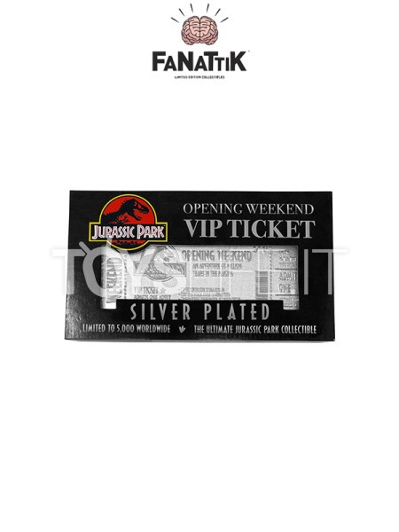 fanattik-jurassic-park-opening-weekend-vip-ticket-silver-plated-replica-toyslife-icon