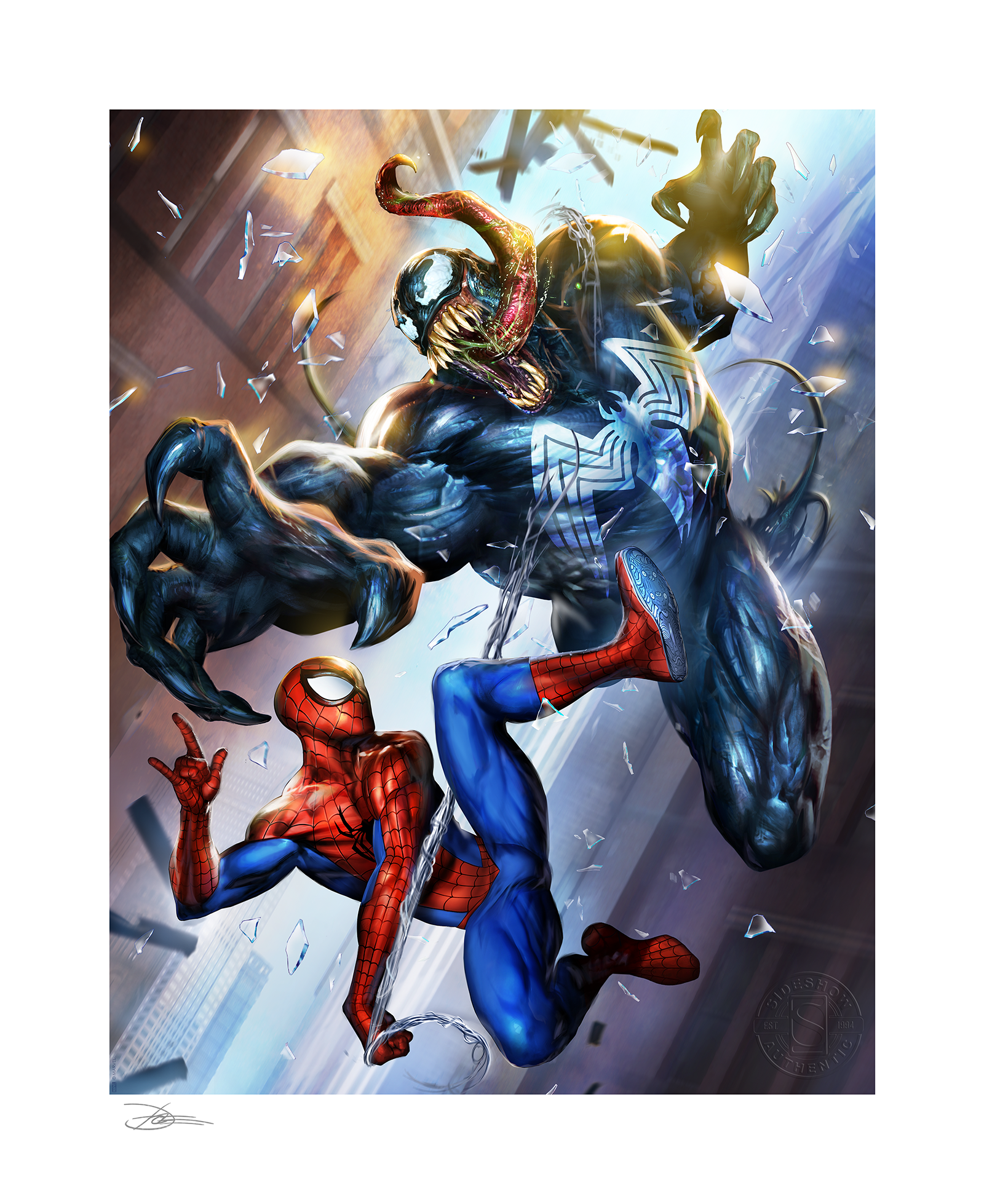 sideshow-marvel-spiderman-vs-venom-unframed-limited-art-print-toyslife