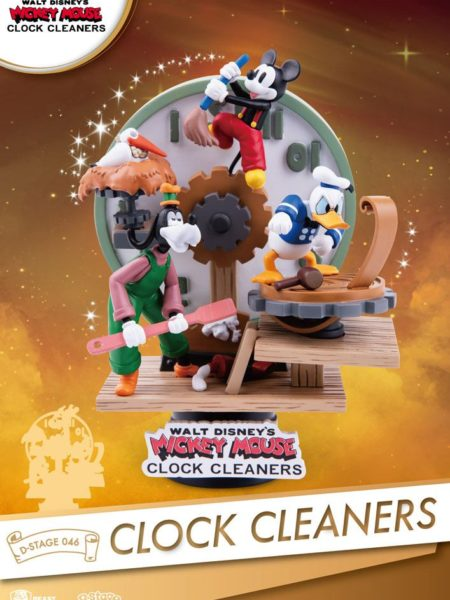Beast Kingdom Toys Disney Mickey Mouse Clock Cleaners Pvc Diorama