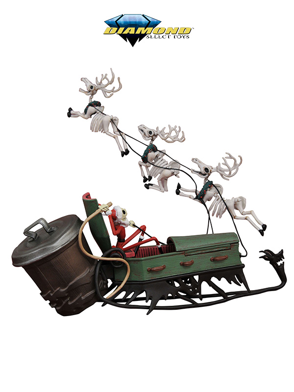 Diamond Select Nightmare Before Christmas Santa Jack in Sleigh Deluxe Pvc Set