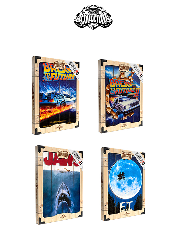 Doctor Collector Wood Art 3D Back To The Future/Back To The Future Part 2/Jaws/ET