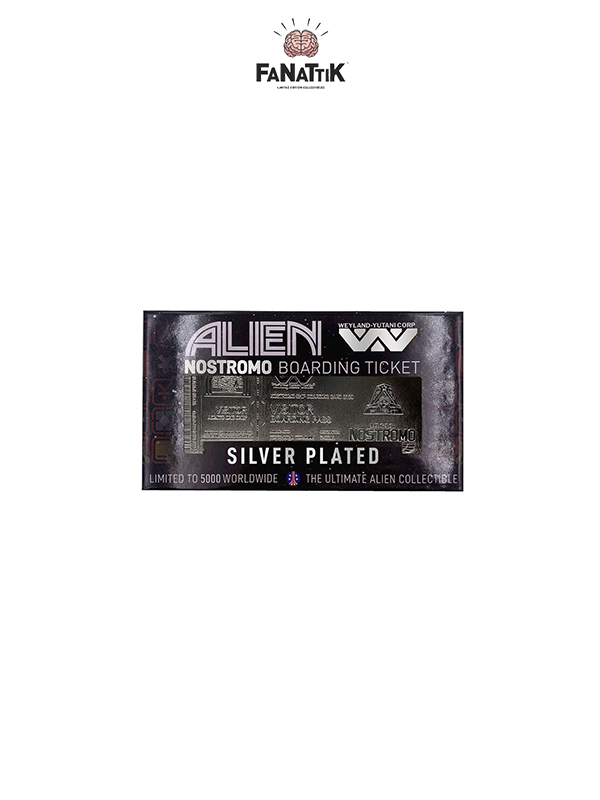 Fanattik Alien Nostromo Ticket Silver Plated 1:1 Replica Limited Edition