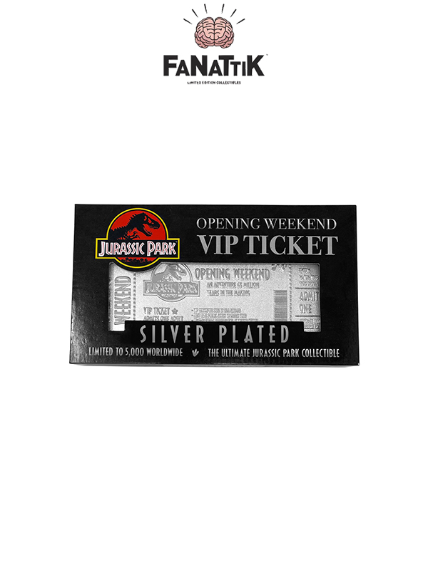 Fanattik Jurassic Park Opening Weekend VIP Ticket Silver Plated 1:1 Replica