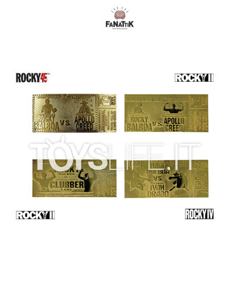 Fanattik Rocky 45th Anniversary/ Rocky 2/ Rocky 3/ Rocky 4 Gold Plated Limited Ticket 1:1 Replica