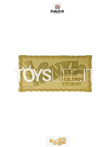 Fanattik Willy Wonka And The Chocolate Factory Willy Wonka Gold Plated Ticket 1:1 Limited Replica