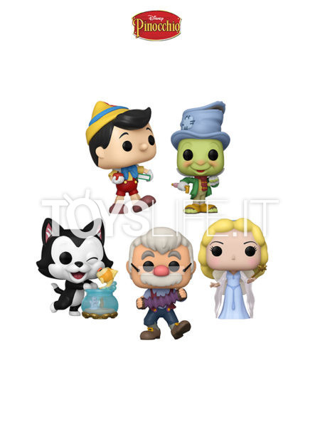 Funko Disney Pinocchio School Bound Pinocchio/ Street Jiminy/ Geppetto With Accordion/ Figaro Kissing Cleo/ Blue Fairy