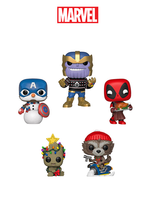 Funko Marvel Holidays Thanos/Captain America/Rocket/Baby Groot/Deadpool