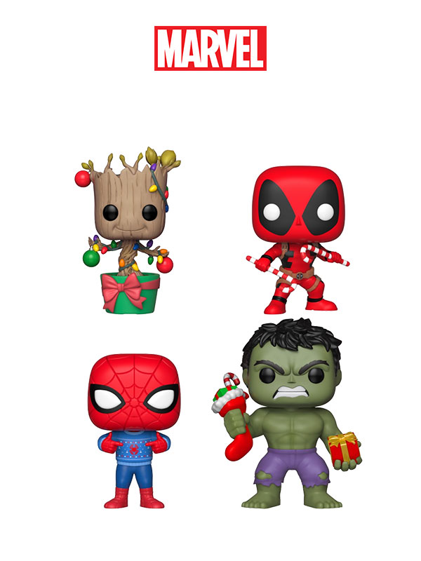 Funko Marvel Holidays Hulk Spiderman Deadpool Groot