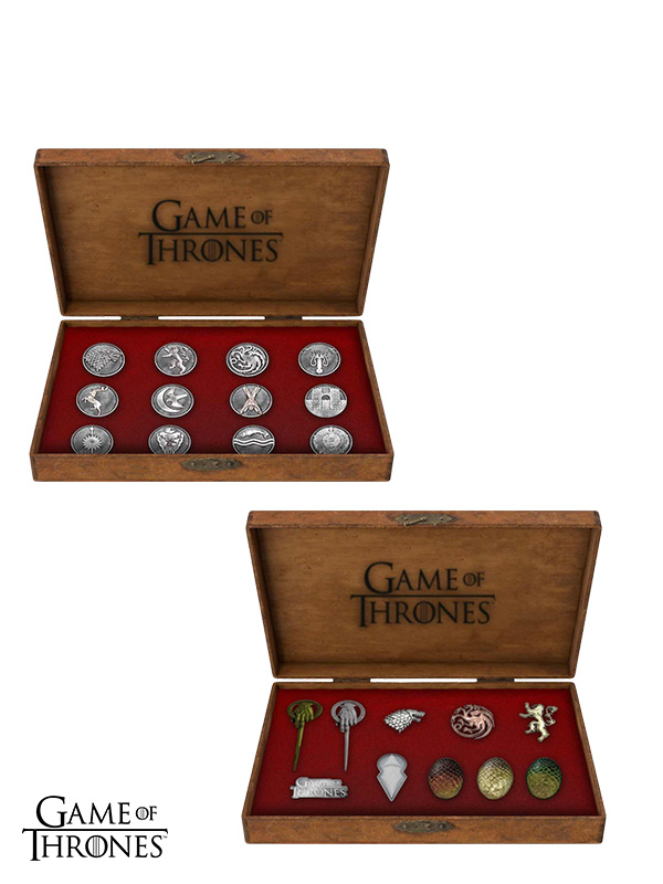 Game Of Thrones 12 House Emblems/10 Icons Metal Pins Deluxe Box