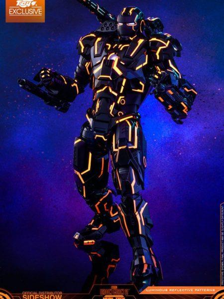 Hot toys Ironman 2 Neon Tech War Machine 1:6 Diecast Exclusive Figure