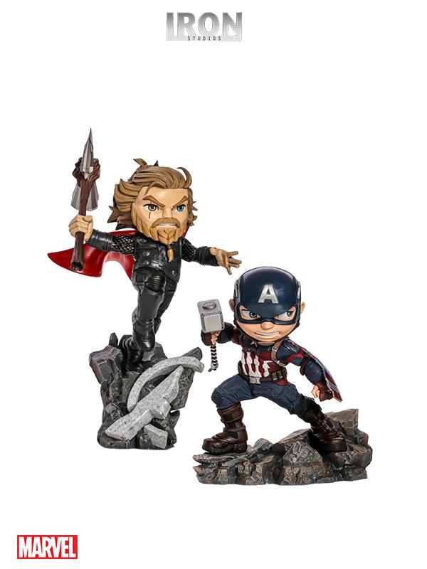 Iron Studios Marvel Avengers Endgame Captain America/Thor Mini Co Pvc Statue
