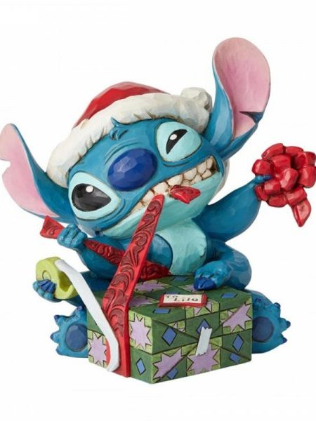 Jim Shore Disney Traditions Christmas Stitch With Santa Hat