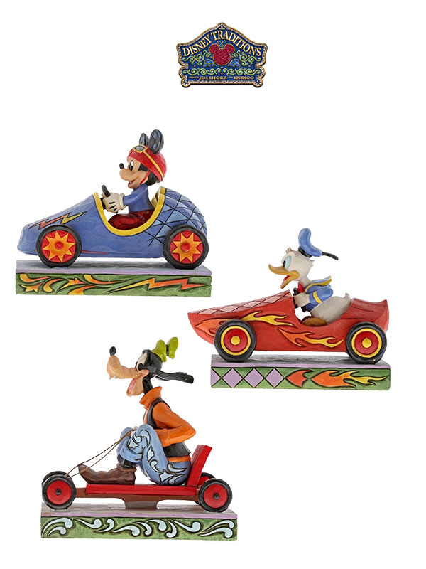Jim Shore Disney Traditions Mickey Donald & Goofy Car Race