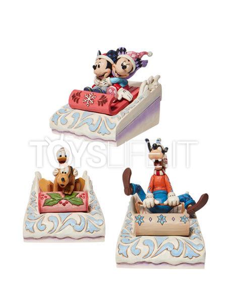 Jim Shore Disney Traditions Mickey & Minnie/ Goofy/ Donald & Pluto Sledding