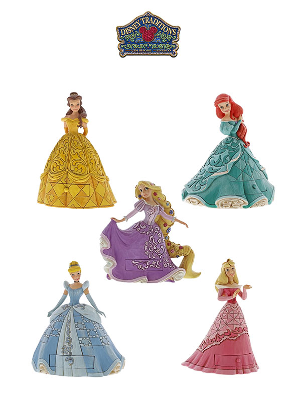 Jim Shore Disney Traditions Tresure Keeper Belle/Aurora/Cindella/Ariel/Rapunzel