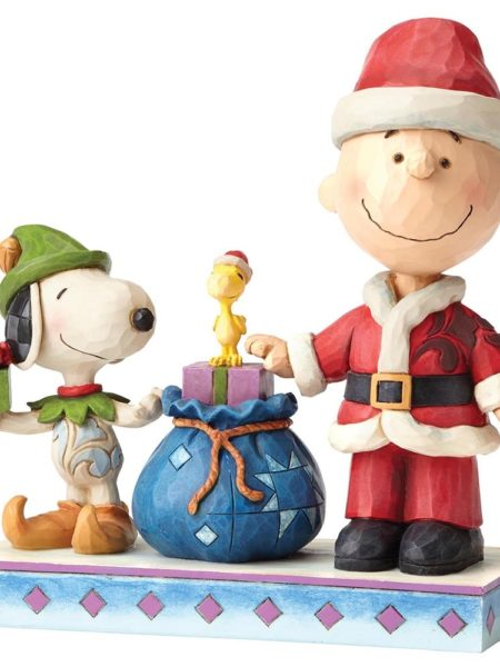 Jim Shore Peanuts Christmas Snoopy & Charlie Brown Holiday Helpers