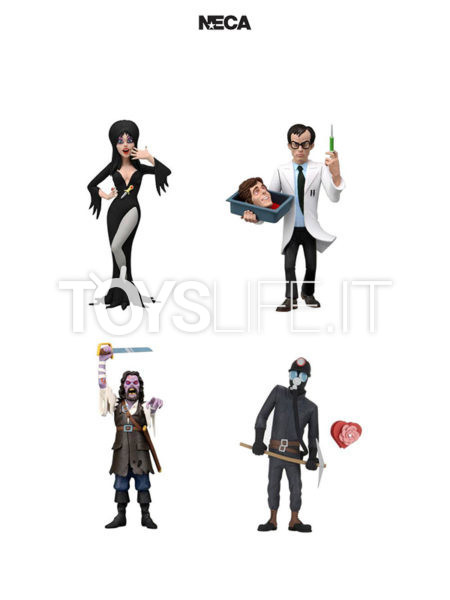 Neca Toony Terrors Serie 6 Elvira Mistress Of The Dark/ Captain Blake/ Herbert West/ The Miner Figure Set