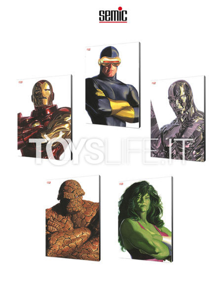 Semic Marvel Comics Cyclops/ Silver Surfer/ Ironman/ The Thing/ She Hulk Wood Panel by Alex Ross