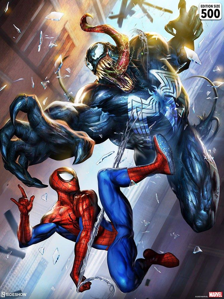 Sideshow Marvel Spiderman vs Venom Unframed Art Print 46x61