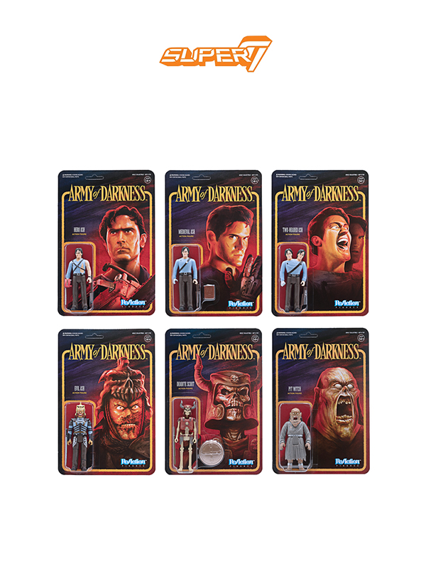Super7 Army Of Darkness Reaction Ash/Mediaval Ash/2 Headed Ash/Evil Ash/Pit Witch/Deadite Scout Figure