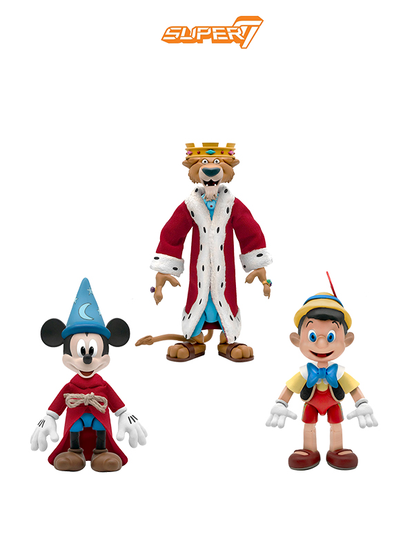 Super 7 Disney Pinocchio/ Prince John/ Mickey Sorcerer Ultimate Figure