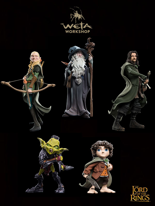 Weta Lord Of The Rings Epics Mini Figures Gandalf/Aragorn/Legolas/Frodo/Moria Orc