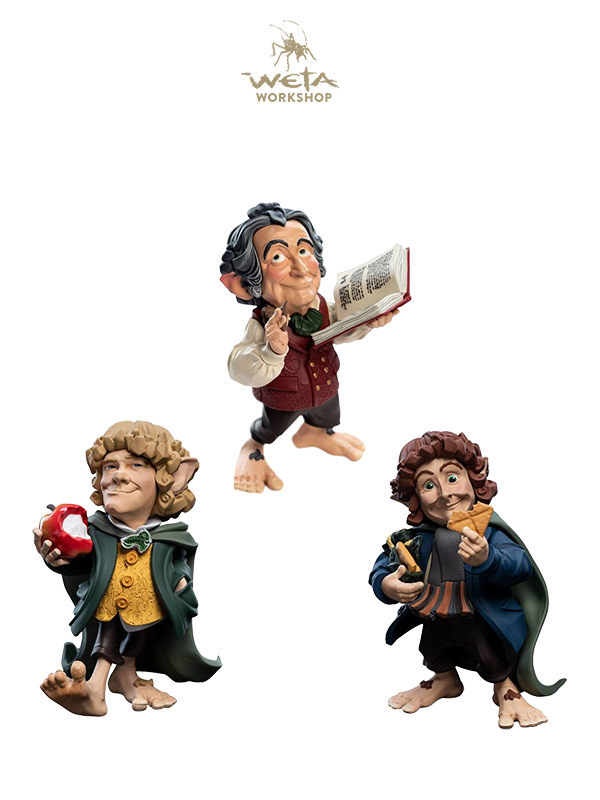 Weta Lord Of The Rings Epics Mini Figures Bilbo/Merry/Pippin